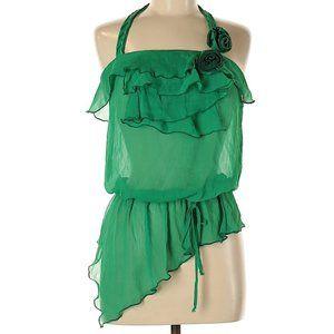 Dress Green Top Blouse Asymmetrical